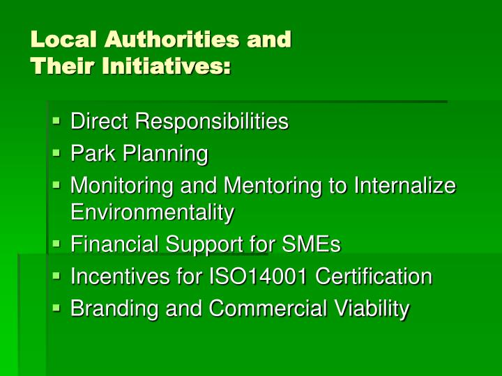 Local authorities and their initiatives