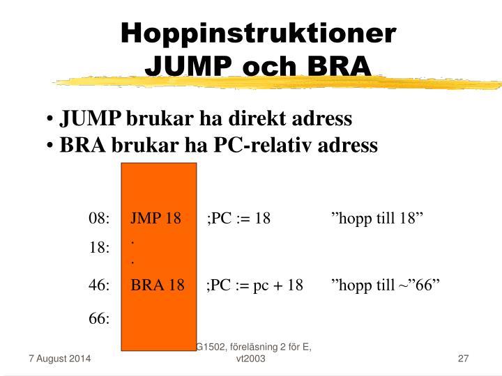Hoppinstruktioner