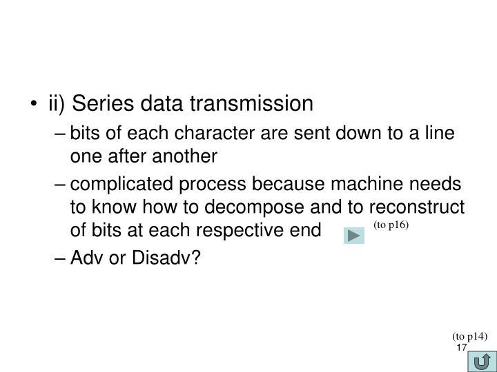 ii) Series data transmission
