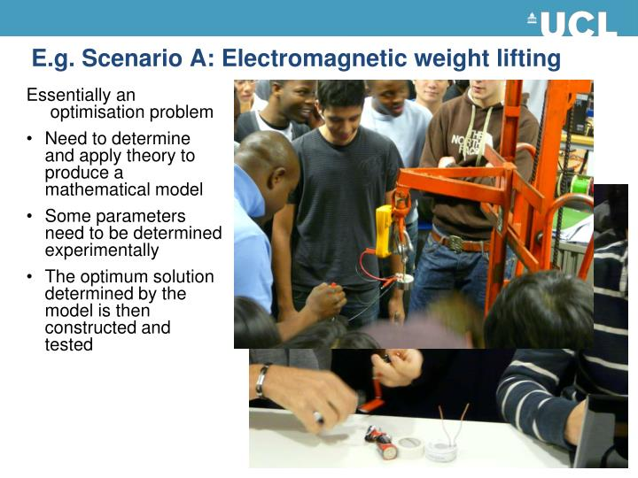 E.g. Scenario A: Electromagnetic weight lifting