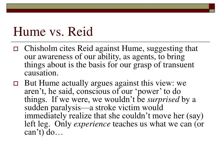 Hume vs. Reid