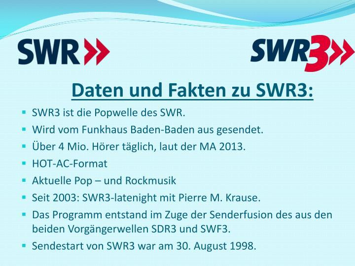 Daten und Fakten zu SWR3:
