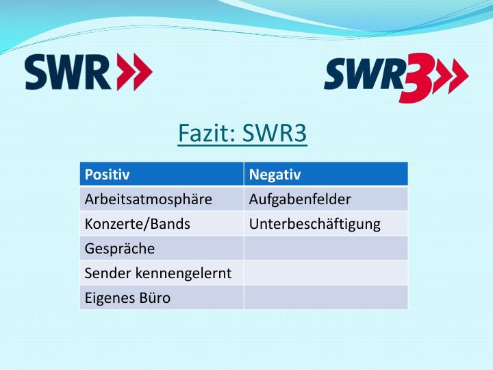 Fazit: SWR3