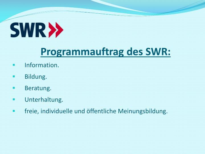 Programmauftrag des SWR: