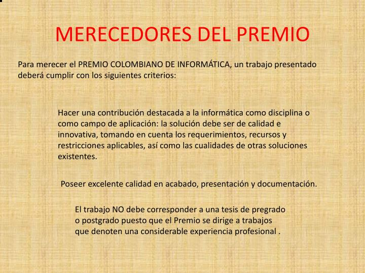 MERECEDORES DEL PREMIO