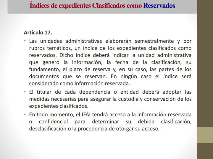 Índices de expedientes Clasificados como