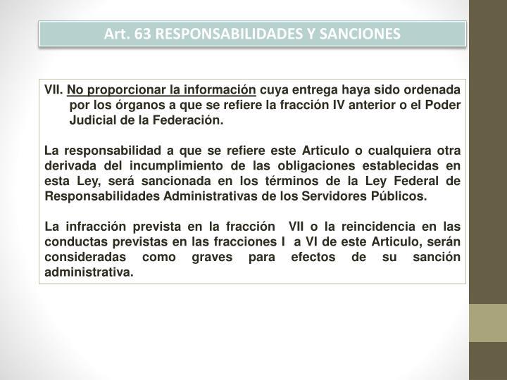 Art. 63 RESPONSABILIDADES Y