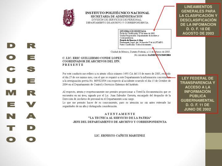 LINEAMIENTOS GENERALES PARA LA CLASIFICACIÓN Y DESCLASIFICACIÓN DE LA INFOMACION D. O. F. 18 DE AGOSTO DE 2003