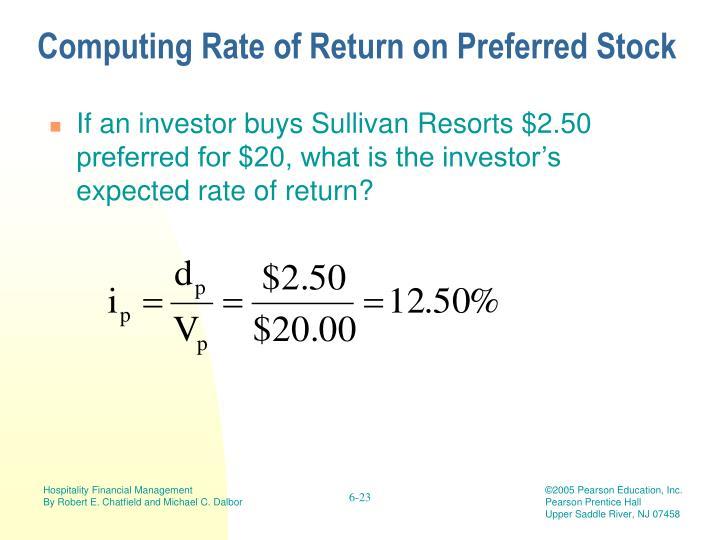 Computing Rate of Return on Preferred Stock