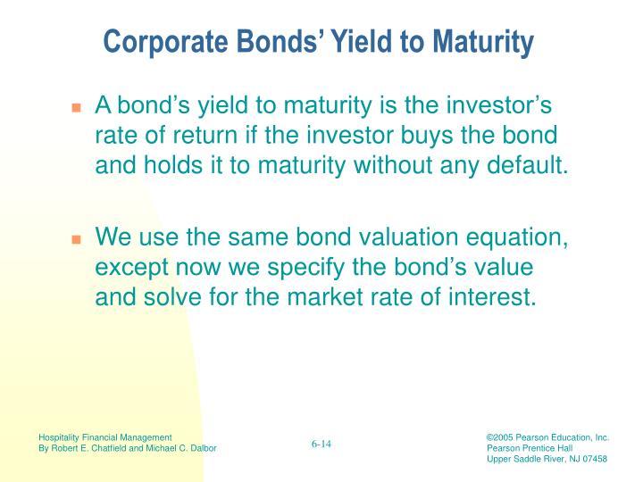 Corporate Bonds' Yield to Maturity