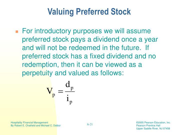 Valuing Preferred Stock