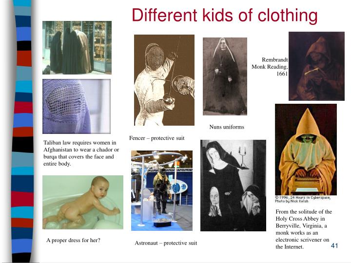 Different kids of clothing
