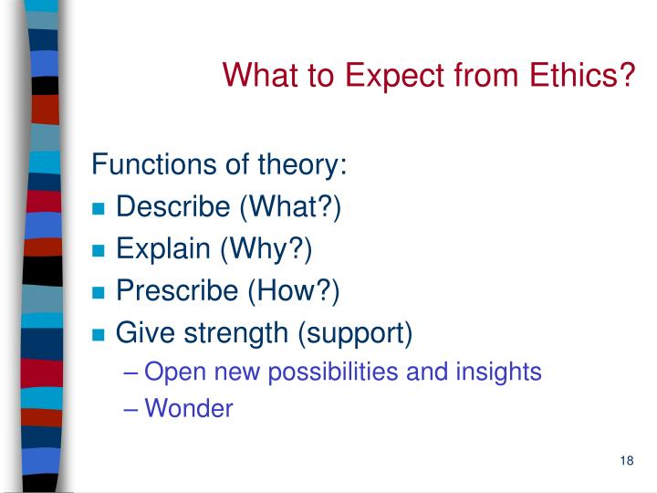 What to Expect from Ethics?
