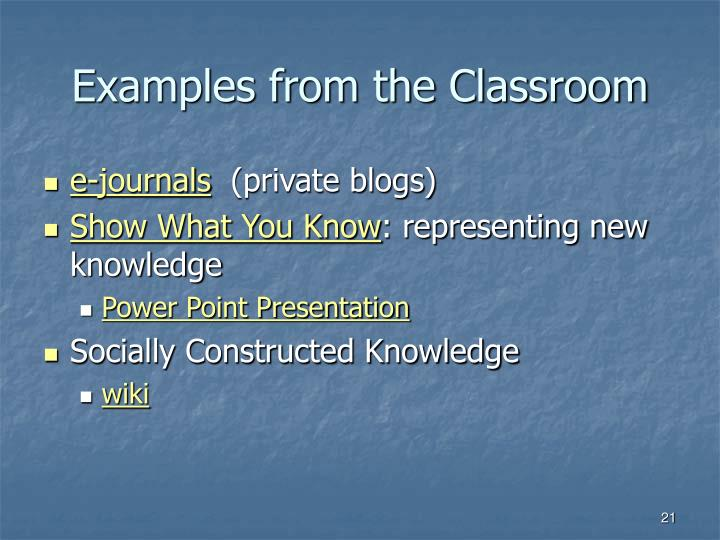 Examples from the Classroom