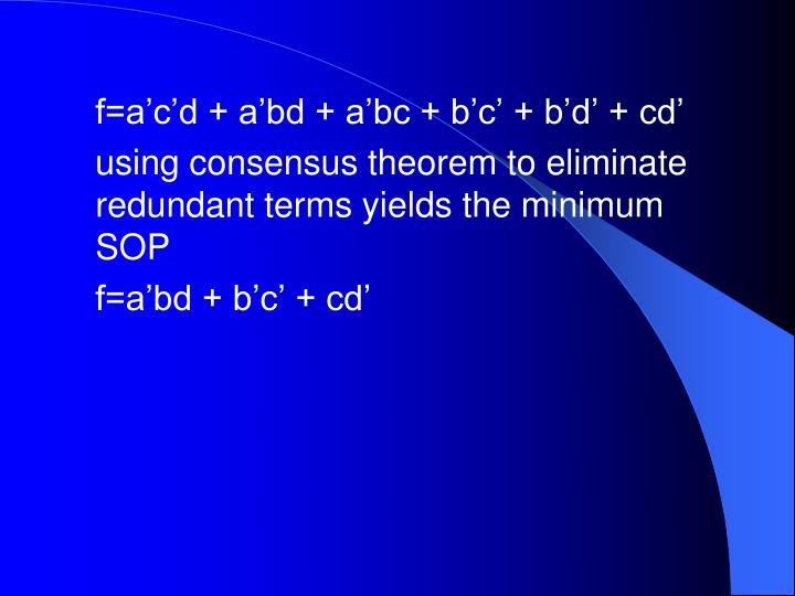 f=a'c'd + a'bd + a'bc + b'c' + b'd' + cd'