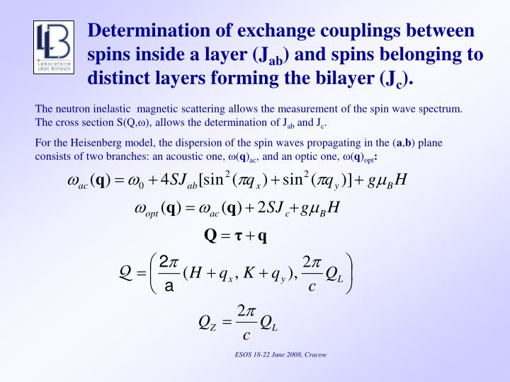 Determination of exchange couplings between spins inside a layer (J