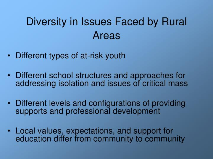 Diversity in issues faced by rural areas