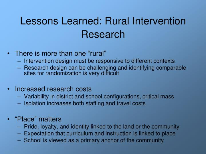 Lessons Learned: Rural Intervention Research