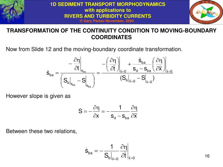TRANSFORMATION OF THE CONTINUITY CONDITION TO MOVING-BOUNDARY COORDINATES