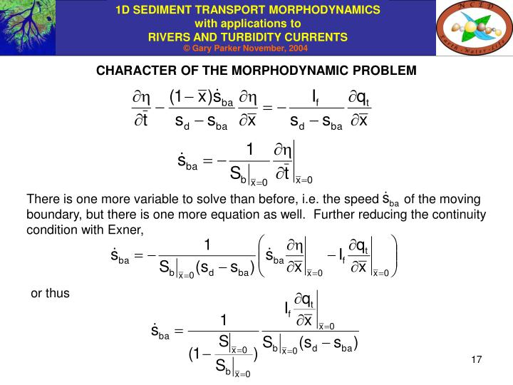 CHARACTER OF THE MORPHODYNAMIC PROBLEM