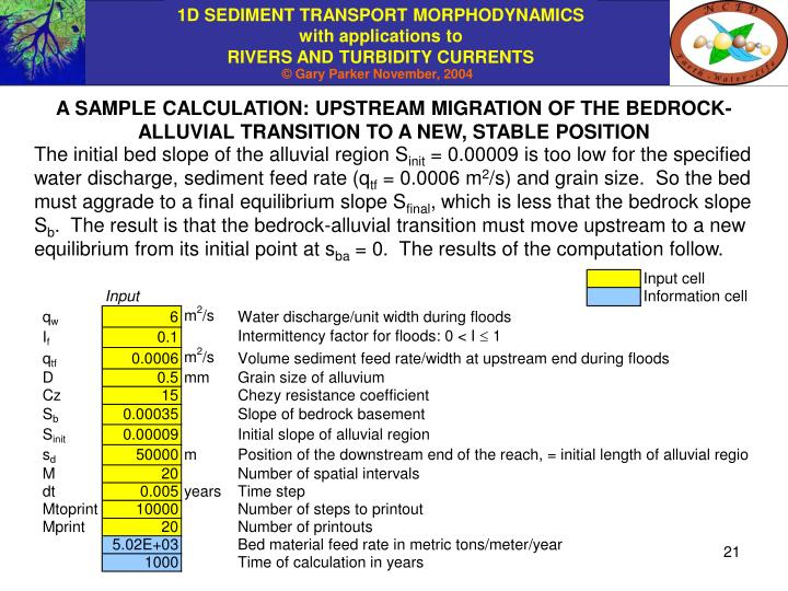 A SAMPLE CALCULATION: UPSTREAM MIGRATION OF THE BEDROCK-ALLUVIAL TRANSITION TO A NEW, STABLE POSITION