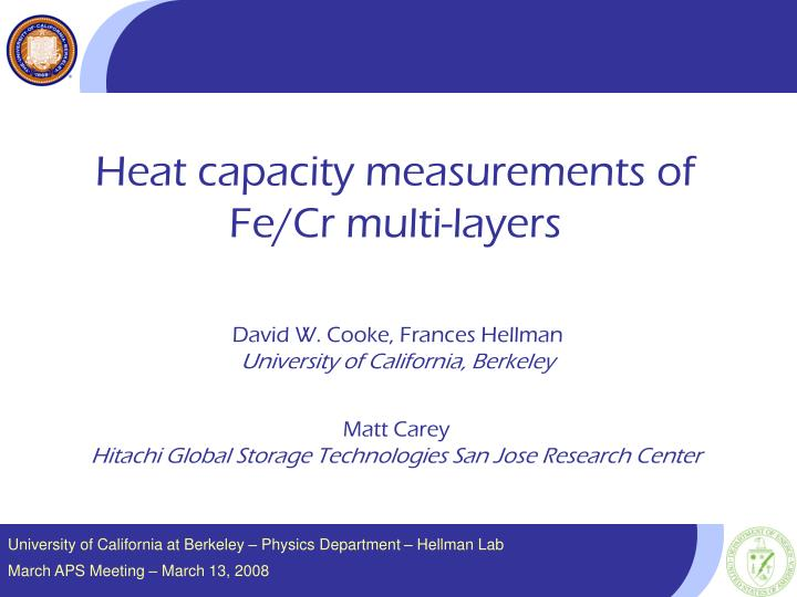 Heat capacity measurements of
