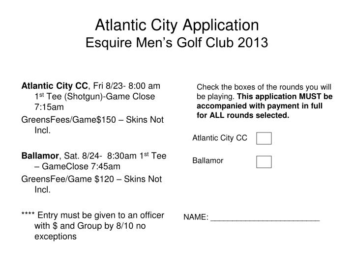Atlantic city application esquire men s golf club 2013