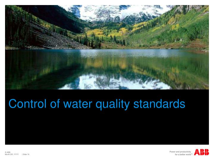 Control of water quality standards