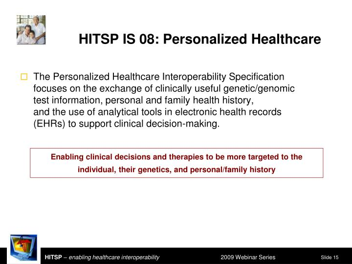 HITSP IS 08: Personalized Healthcare