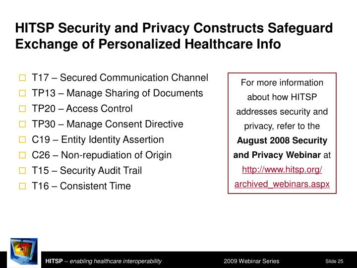 HITSP Security and Privacy Constructs Safeguard Exchange of Personalized Healthcare Info