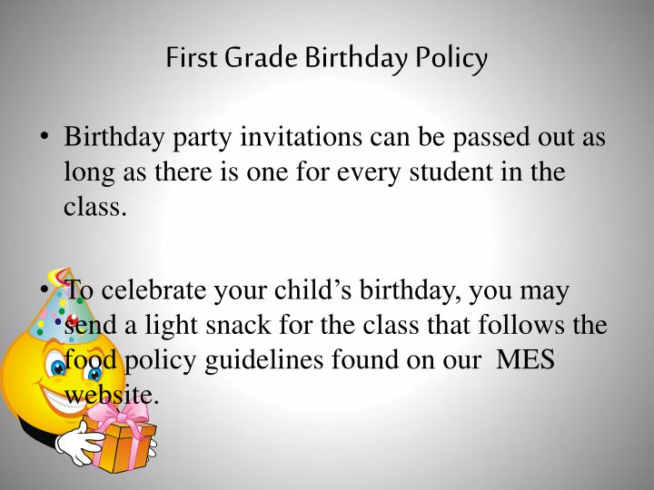 First Grade Birthday Policy