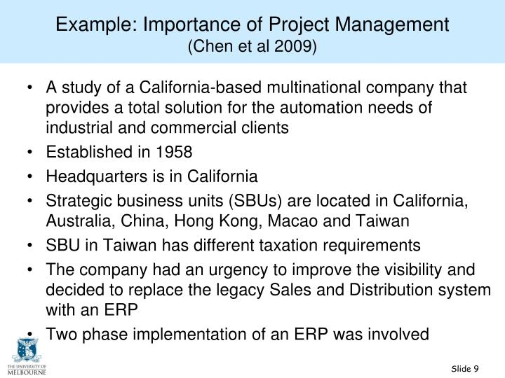 Example: Importance of Project Management