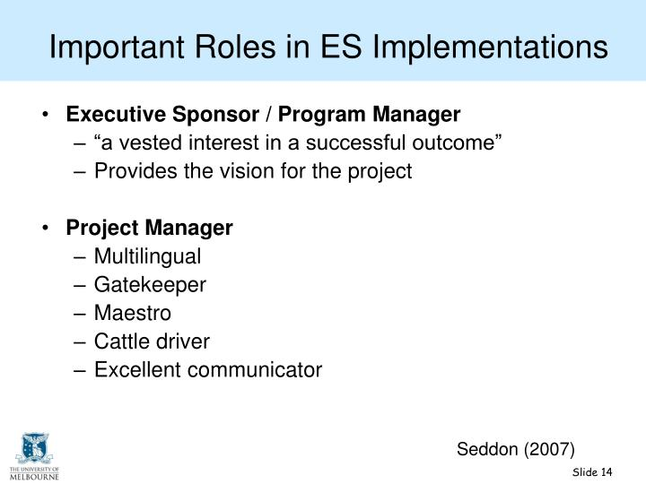 Important Roles in ES Implementations