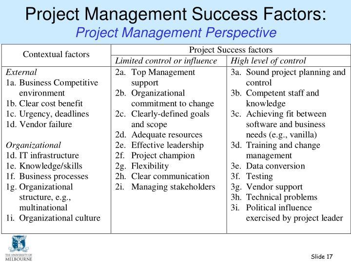 Project Management Success Factors: