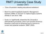 rmit university case study seddon 2007