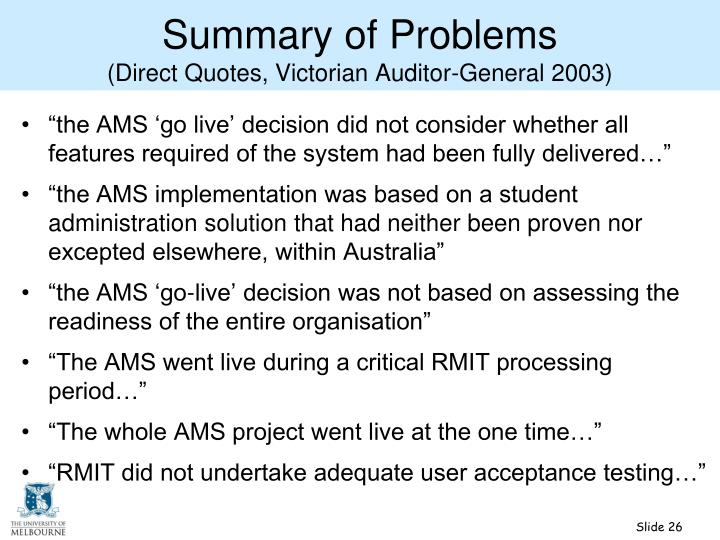 Summary of Problems