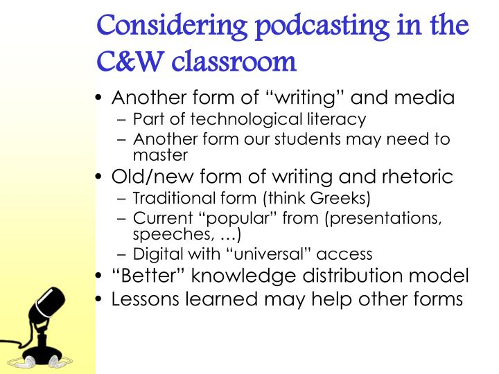 Considering podcasting in the