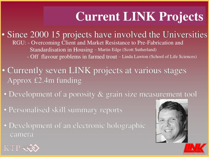 Since 2000 15 projects have involved the Universities