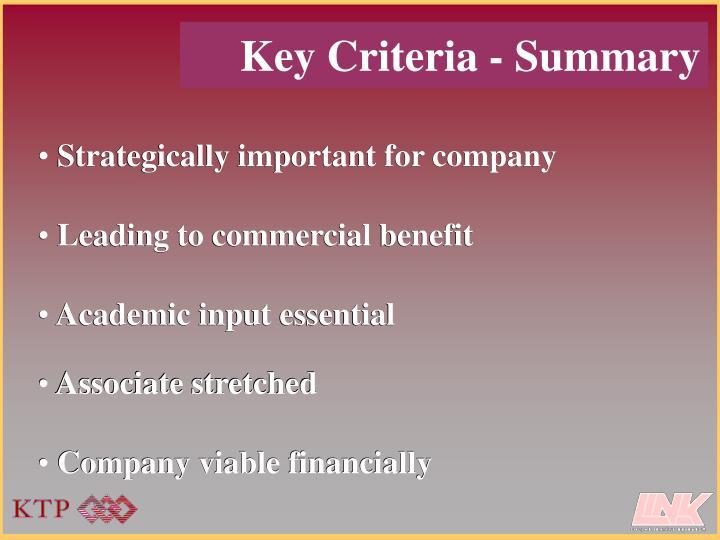 Key Criteria - Summary