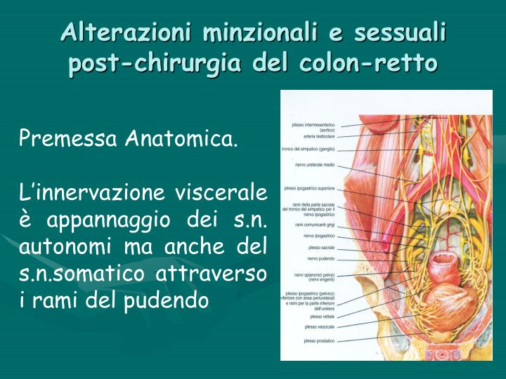 Alterazioni minzionali e sessuali post chirurgia del colon retto