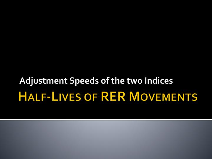 Adjustment Speeds of the two Indices