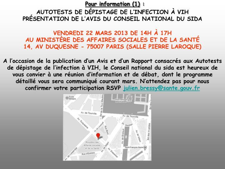 Pour information (1)