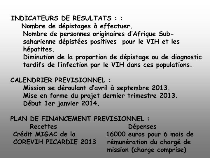 INDICATEURS DE RESULTATS ::