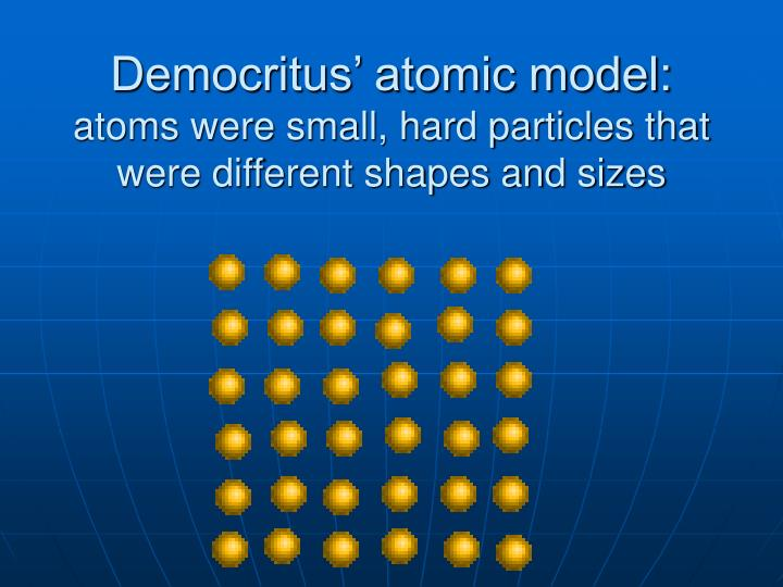 Democritus' atomic model: