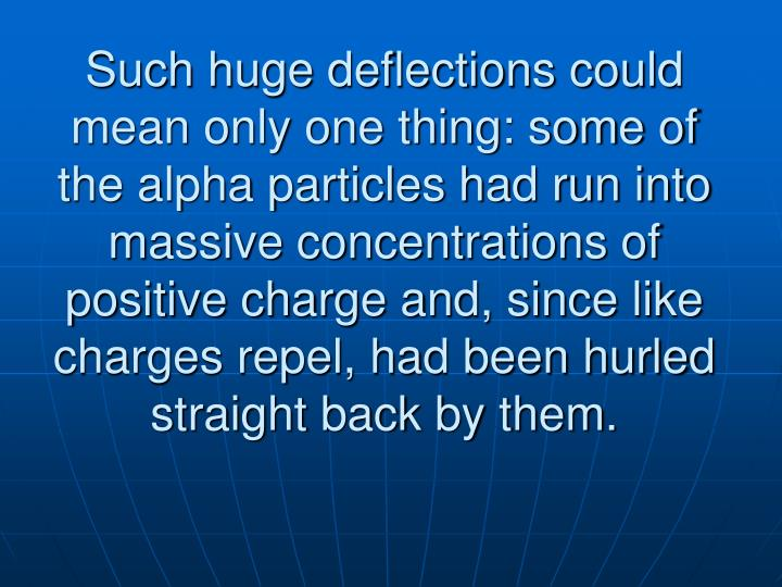 Such huge deflections could mean only one thing: some of the alpha particles had run into massive concentrations of positive charge and, since like charges repel, had been hurled straight back by them.