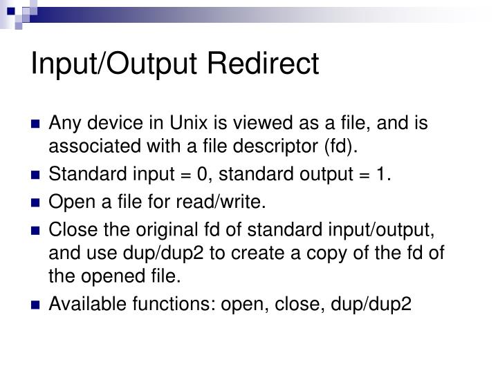 Input/Output Redirect