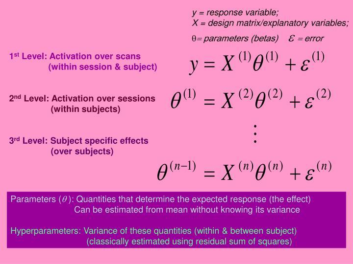y = response variable;