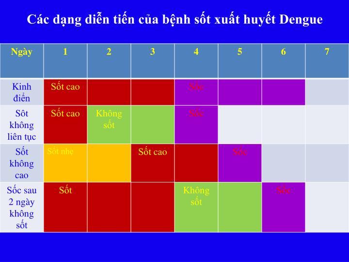 Các dạng diễn tiến của bệnh sốt xuất huyết Dengue