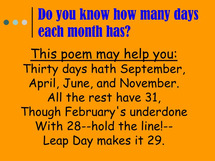 Do you know how many days each month has?