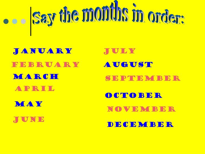 Say the months in order: